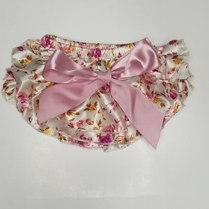 Pink and Gold Floral Ruffled Diaper Cover 0-3M